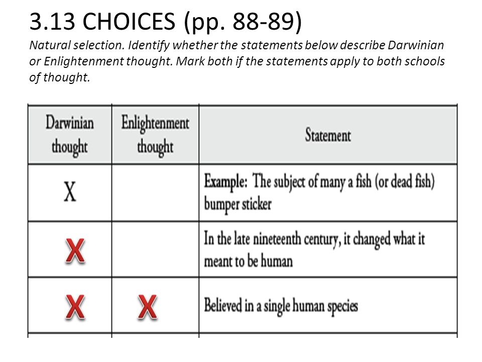 3. 13 CHOICES (pp. 88-89) Natural selection
