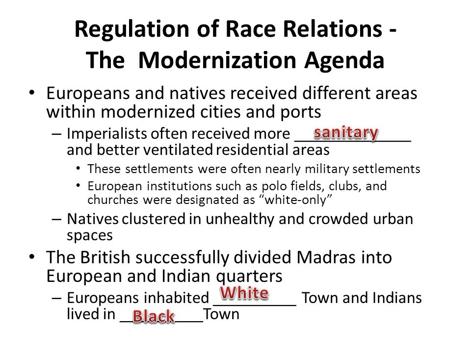 Regulation of Race Relations - The Modernization Agenda