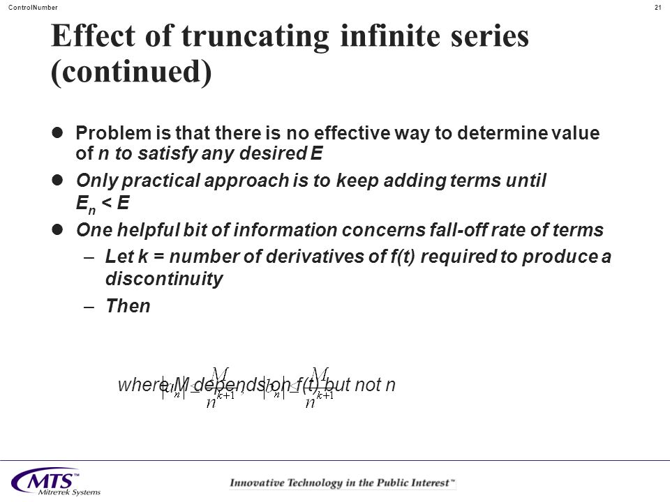 Effect of truncating infinite series (continued)