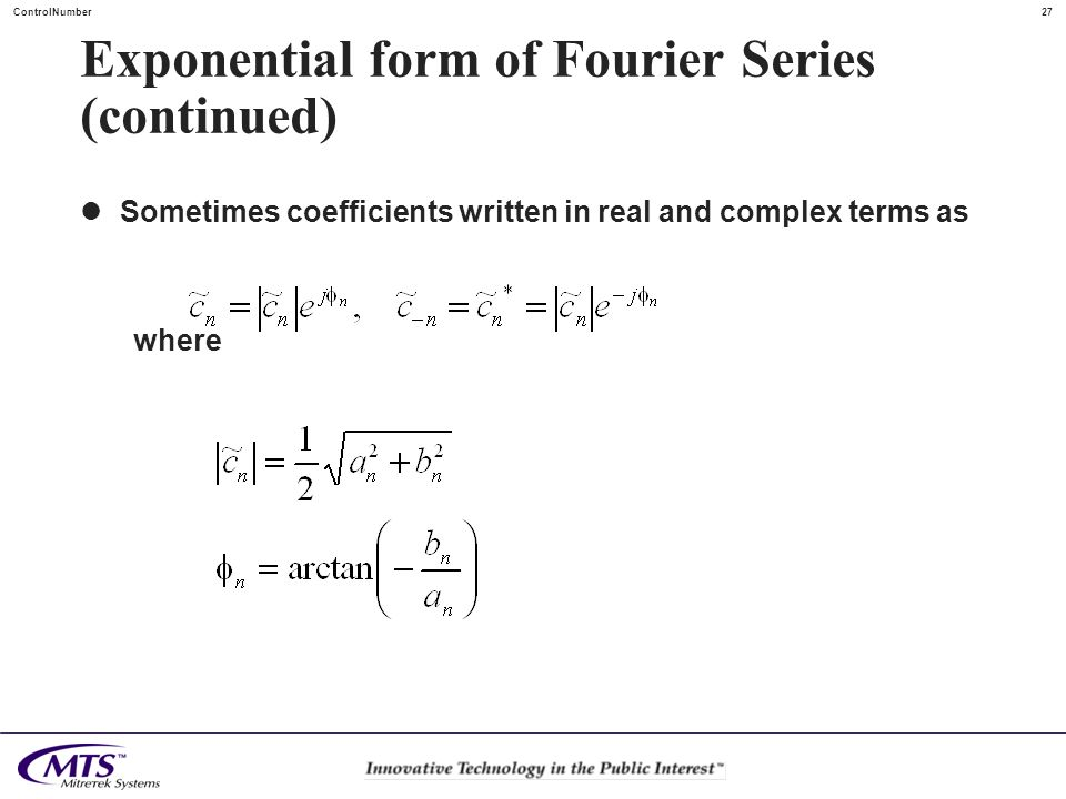 Exponential form of Fourier Series (continued)