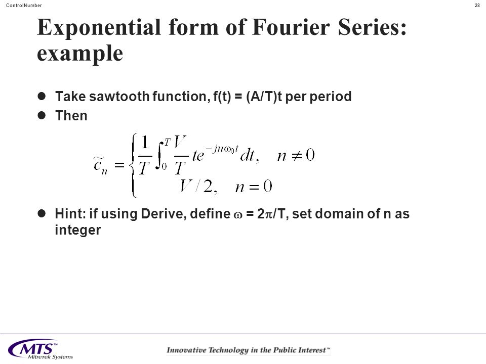 Exponential form of Fourier Series: example