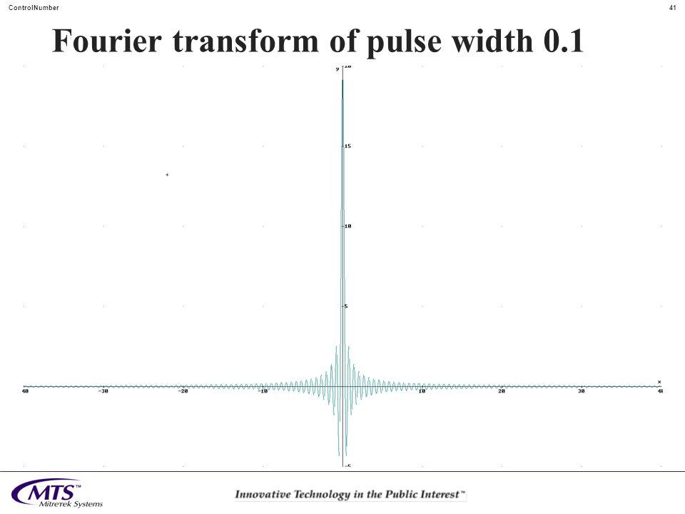 Fourier transform of pulse width 0.1