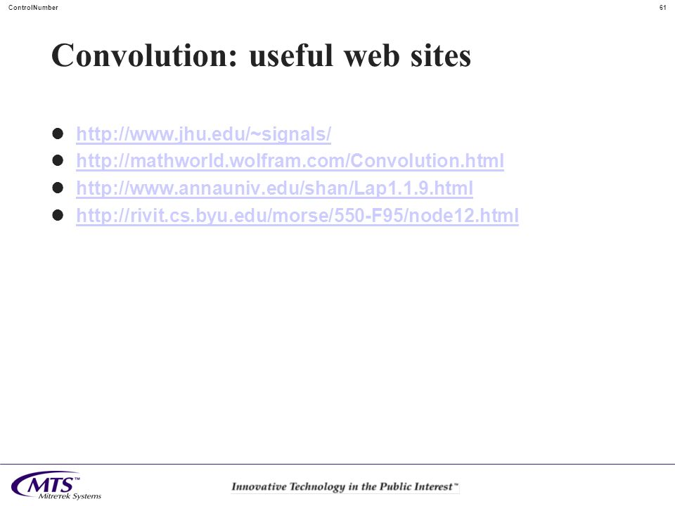Convolution: useful web sites