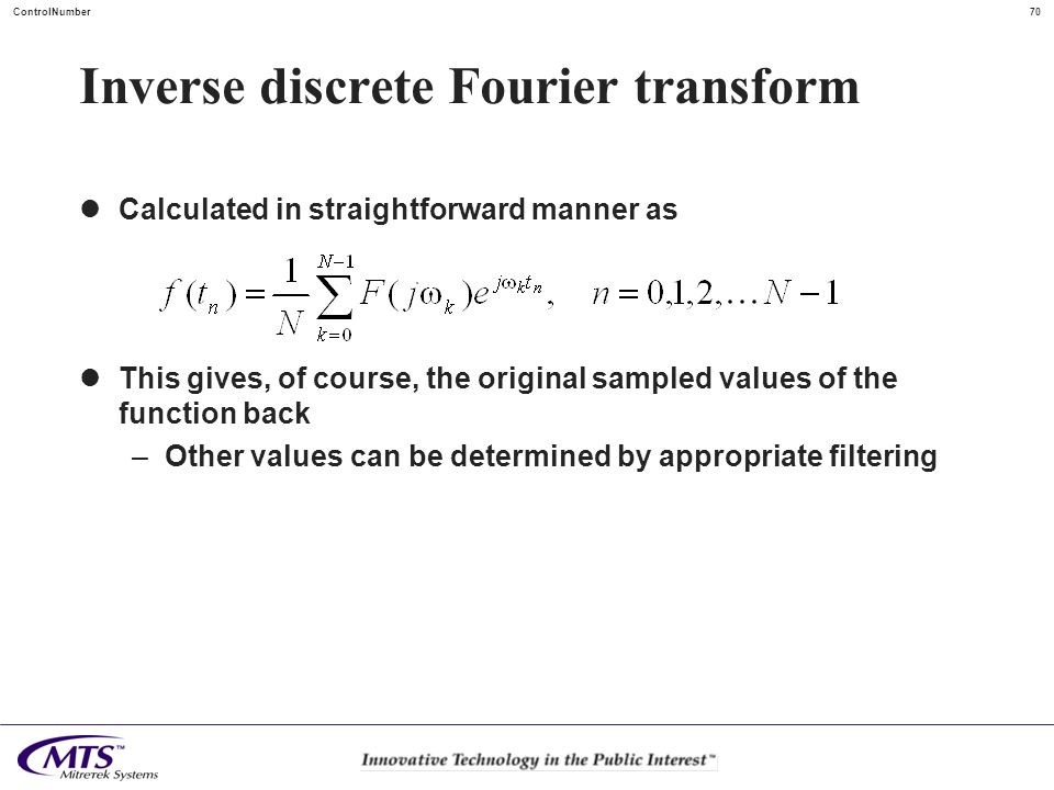 Inverse discrete Fourier transform