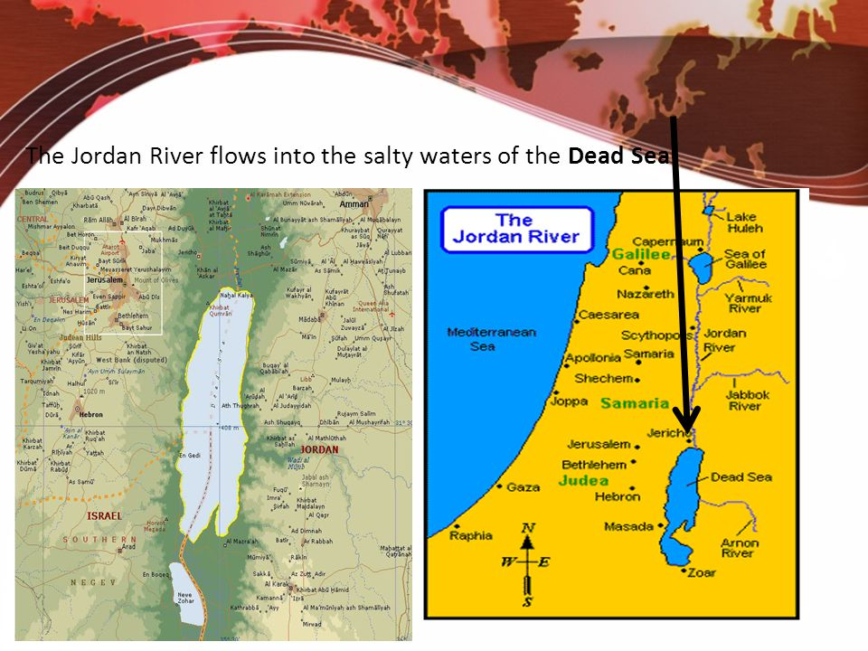 The Jordan River flows into the salty waters of the Dead Sea