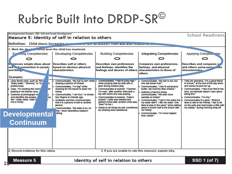 Rubric Built Into DRDP-SR©