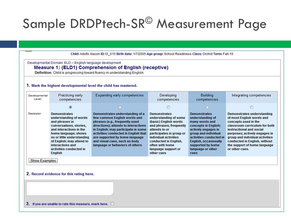 Sample DRDPtech-SR© Measurement Page