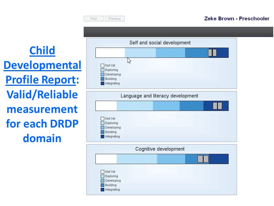 Child Developmental Profile Report: Valid/Reliable measurement for each DRDP domain