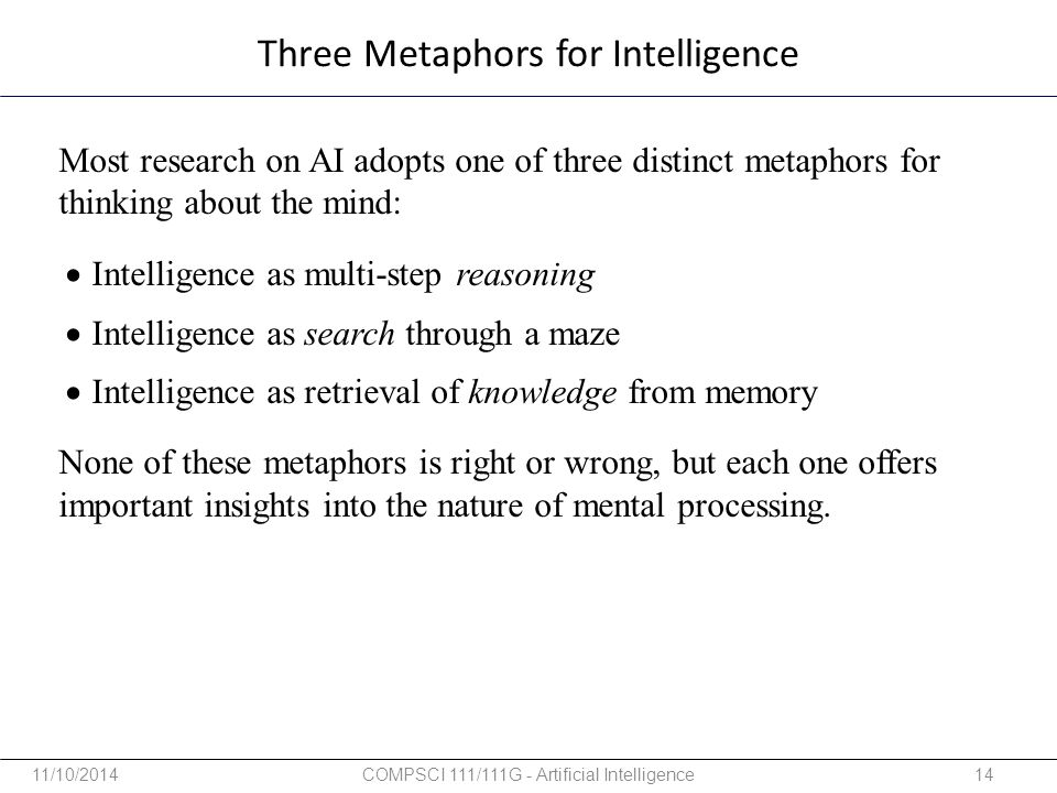 Three Metaphors for Intelligence