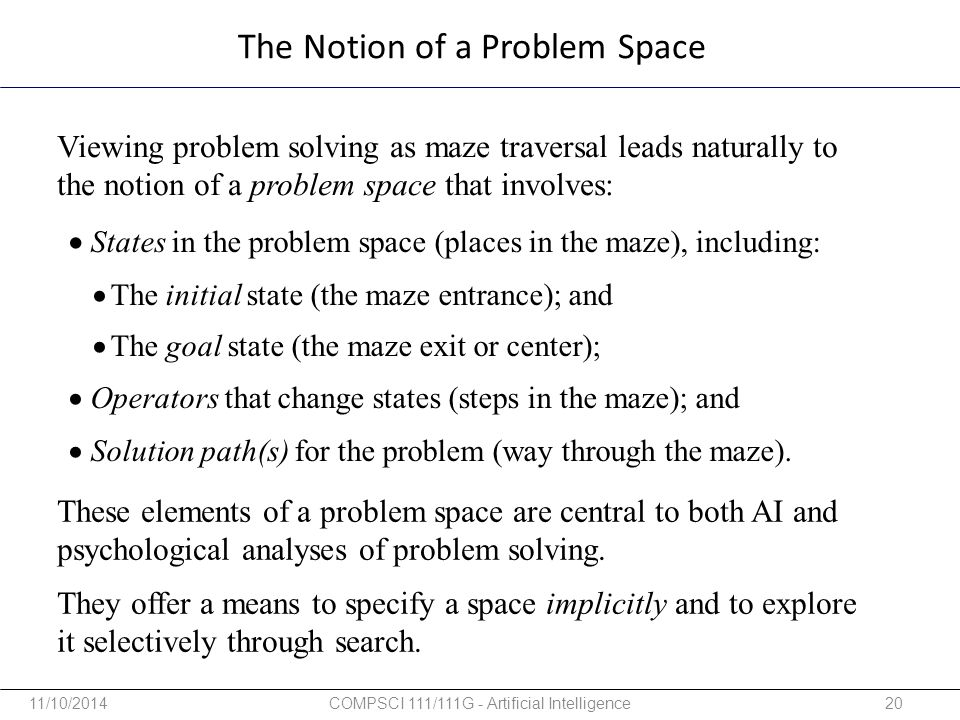 The Notion of a Problem Space