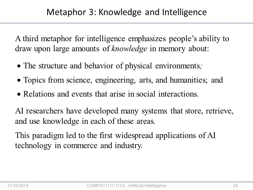 Metaphor 3: Knowledge and Intelligence
