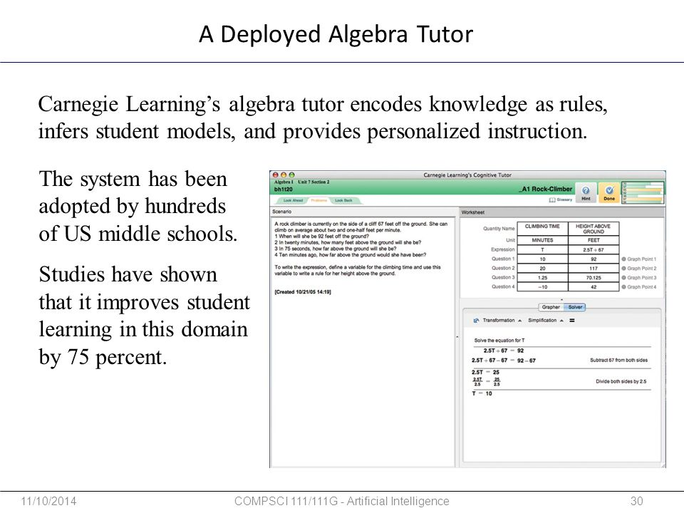 A Deployed Algebra Tutor