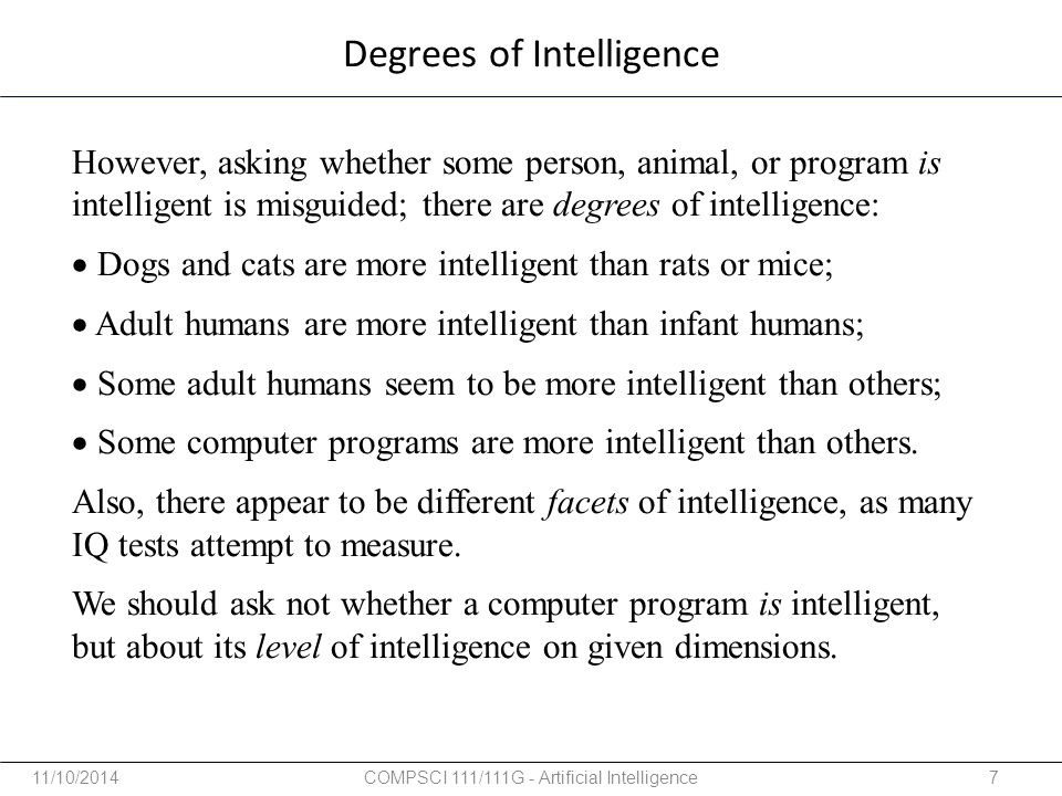 Degrees of Intelligence