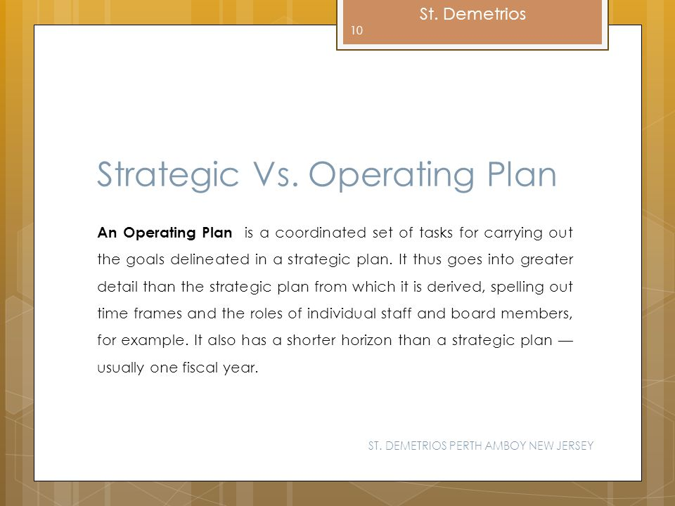 Strategic Vs. Operating Plan