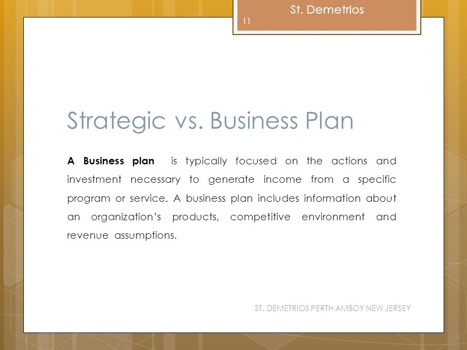Strategic vs. Business Plan