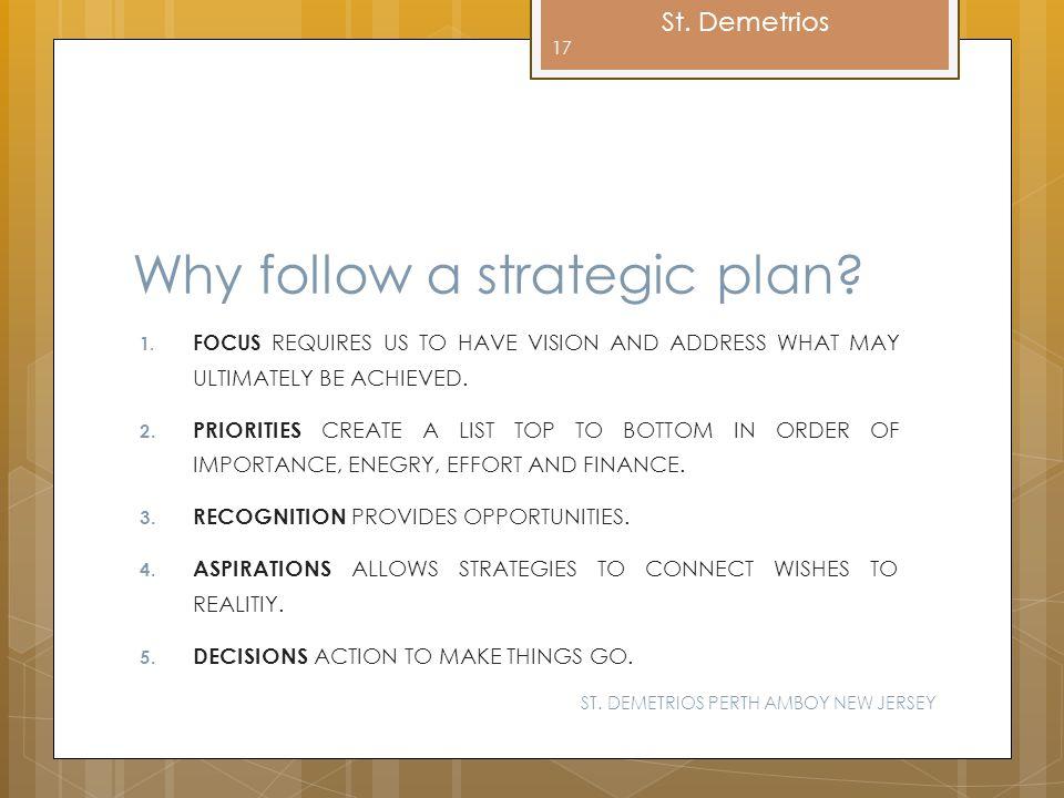 Why follow a strategic plan