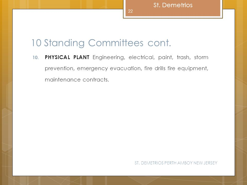 10 Standing Committees cont.