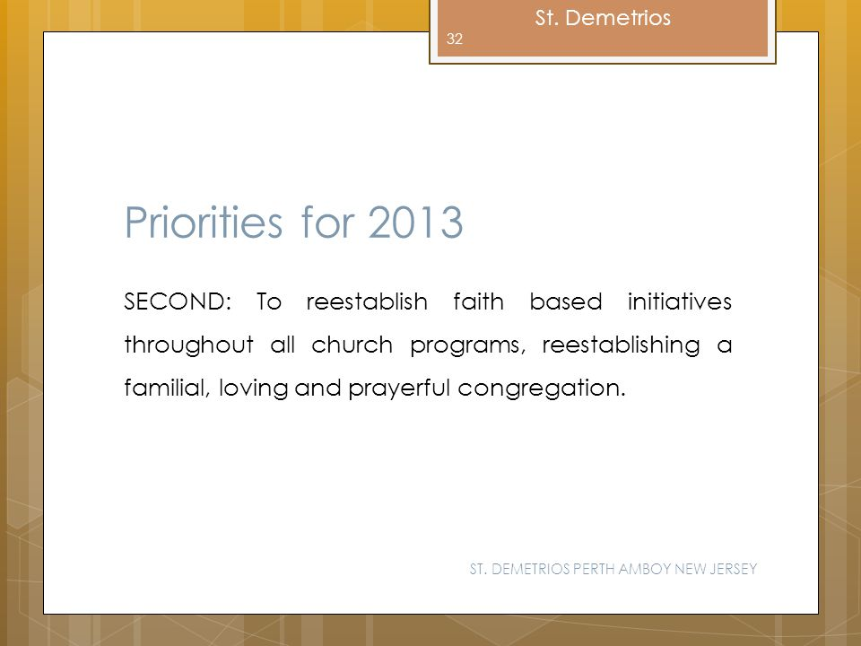 Priorities for 2013