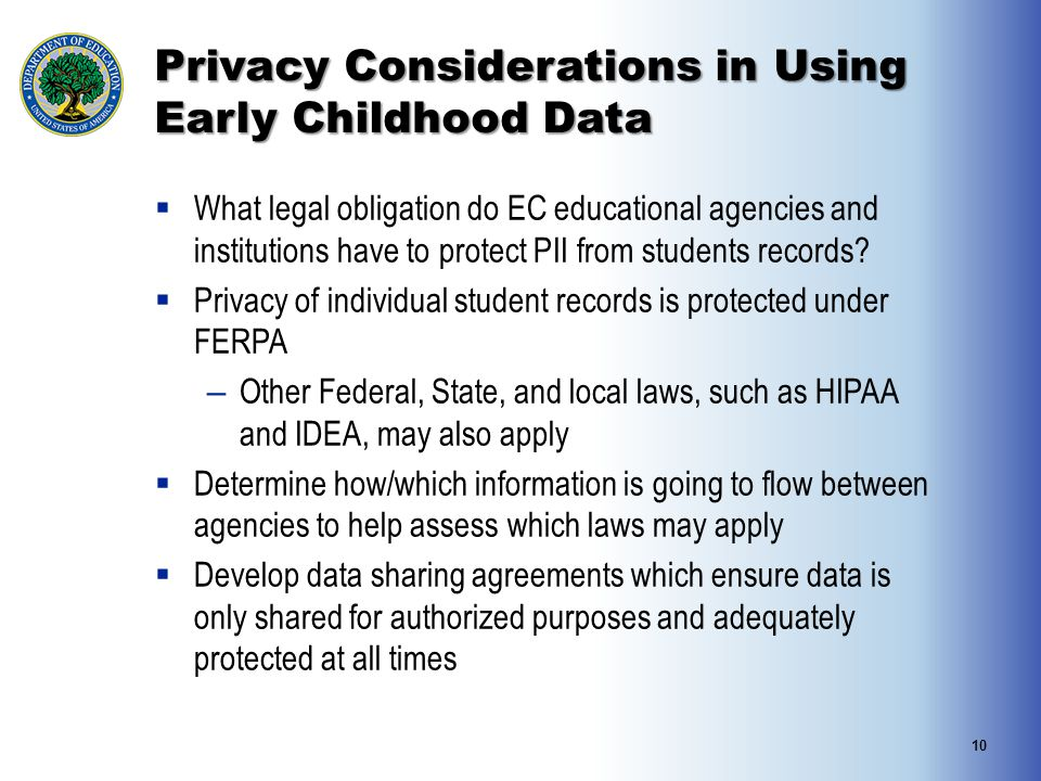 Privacy Considerations in Using Early Childhood Data