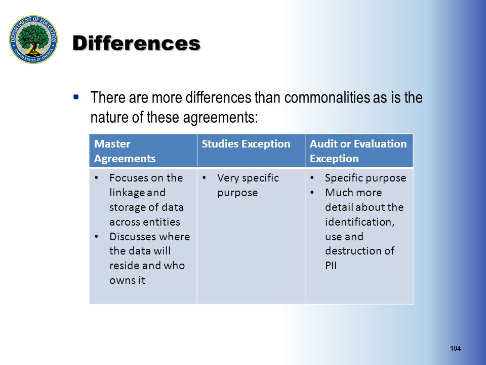 Differences There are more differences than commonalities as is the nature of these agreements: Master Agreements.