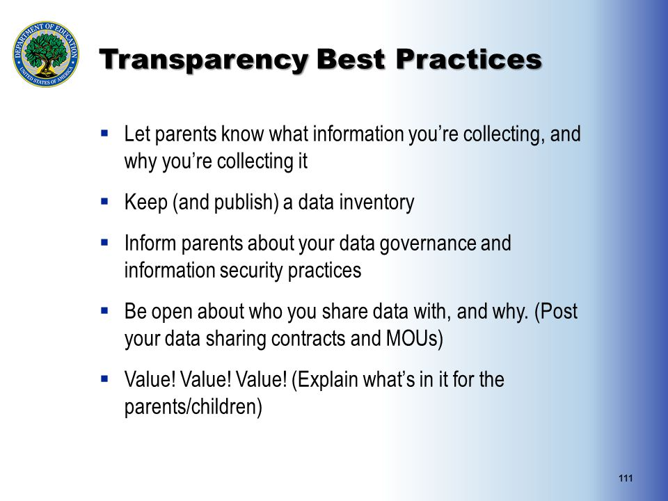 Transparency Best Practices