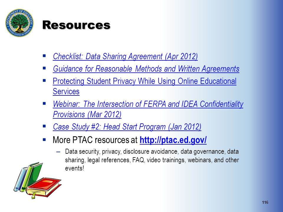 Resources More PTAC resources at http://ptac.ed.gov/