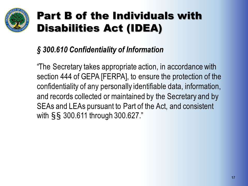 Part B of the Individuals with Disabilities Act (IDEA)