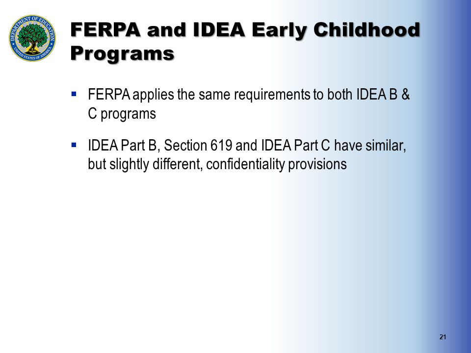 FERPA and IDEA Early Childhood Programs