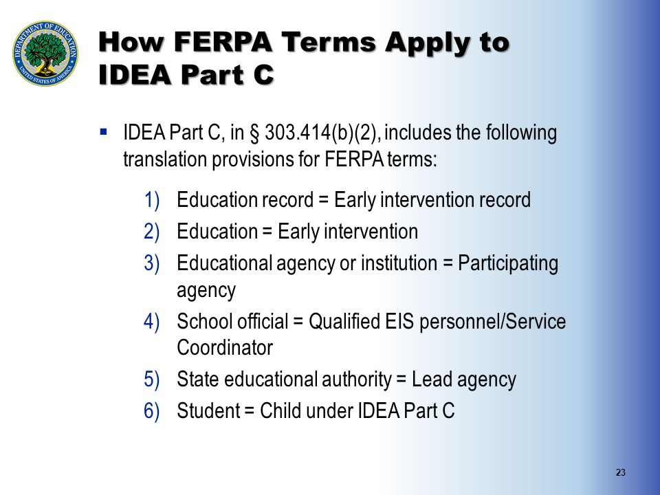 How FERPA Terms Apply to IDEA Part C