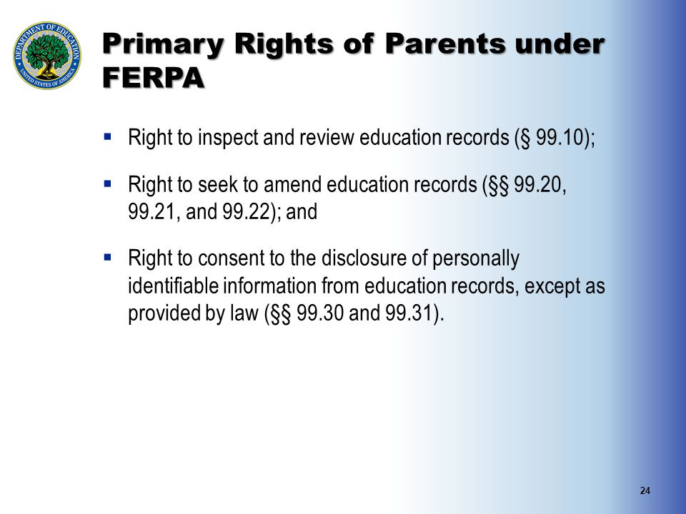 Primary Rights of Parents under FERPA