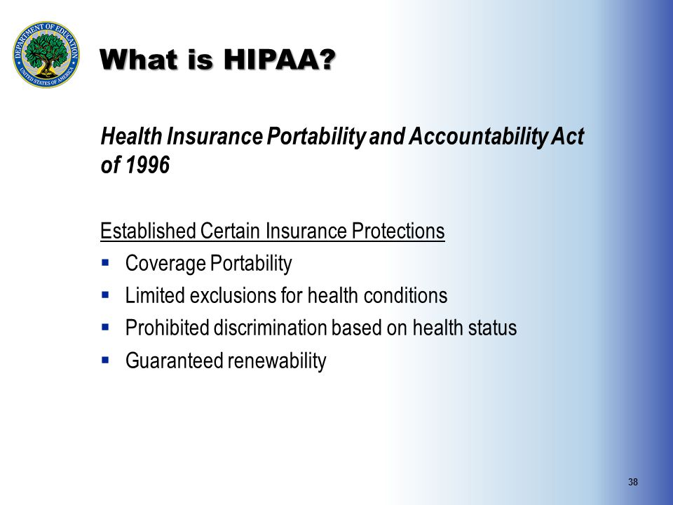 What is HIPAA Health Insurance Portability and Accountability Act of 1996. Established Certain Insurance Protections.
