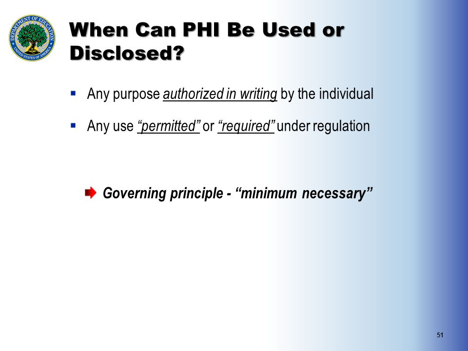 When Can PHI Be Used or Disclosed