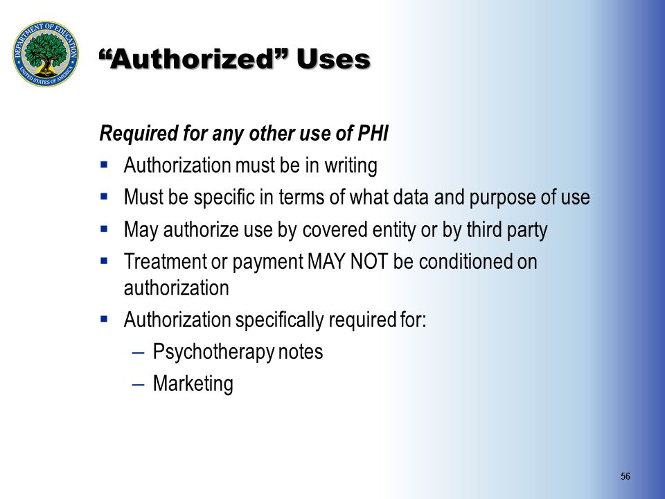 Authorized Uses Required for any other use of PHI