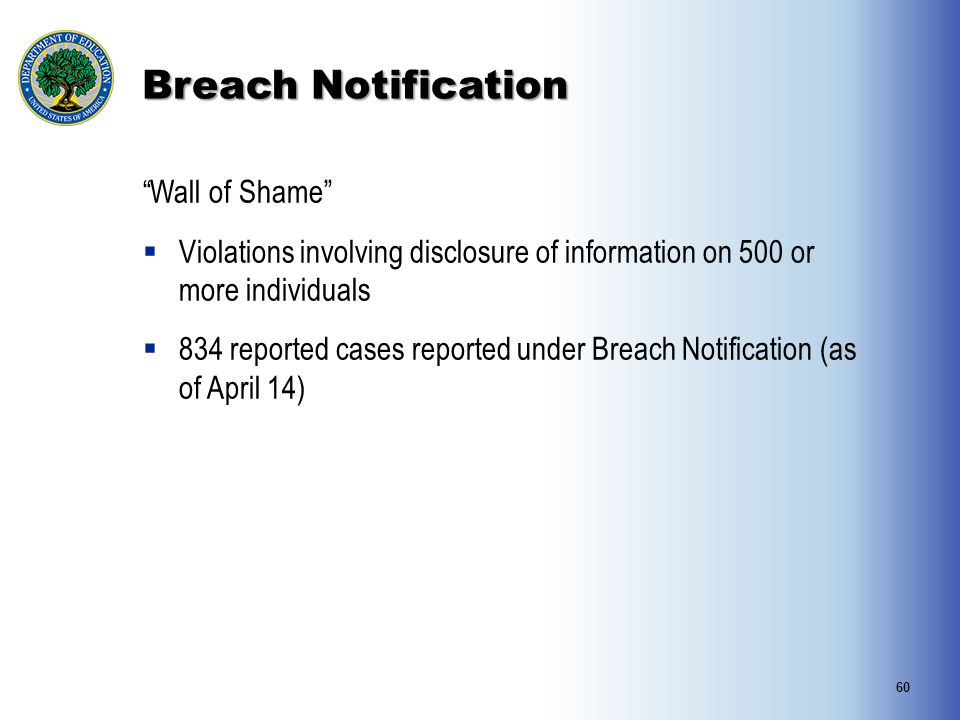 Breach Notification Wall of Shame