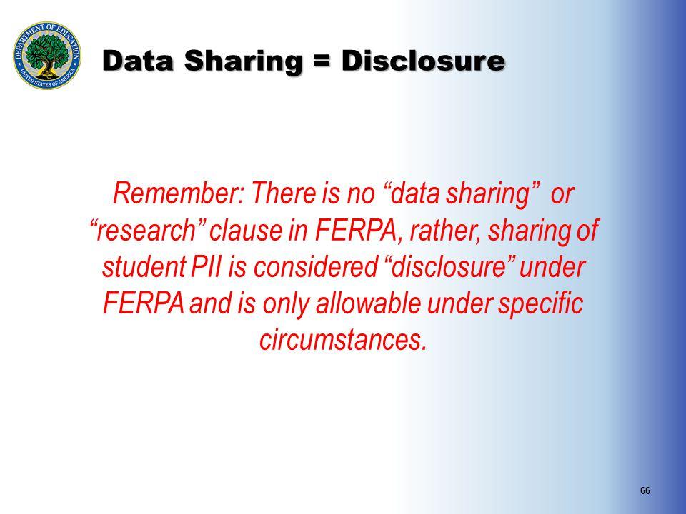 Data Sharing = Disclosure