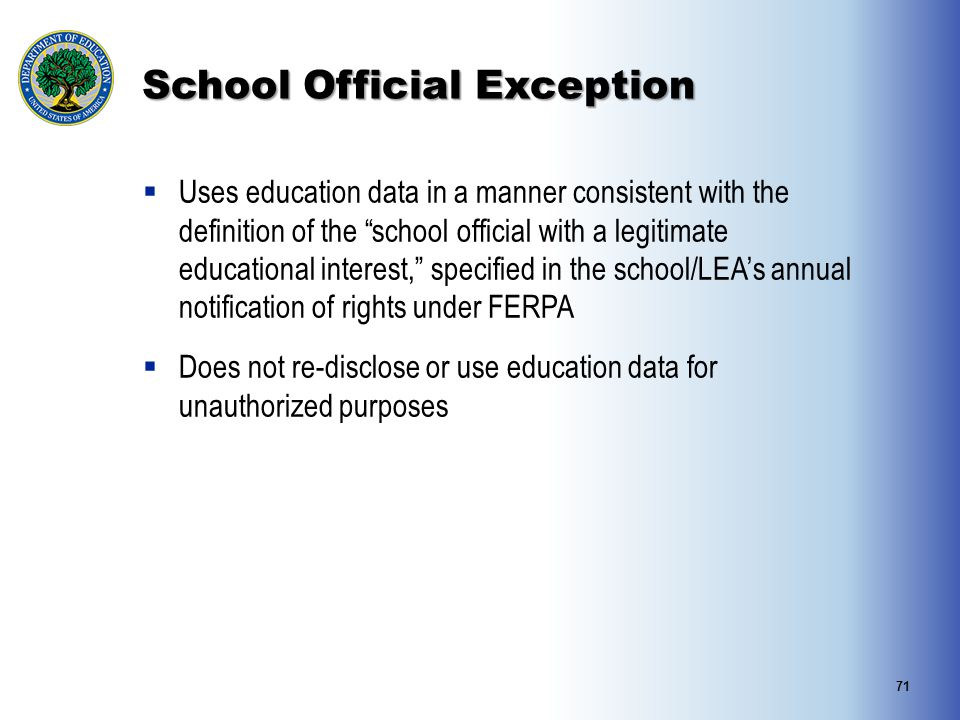 School Official Exception