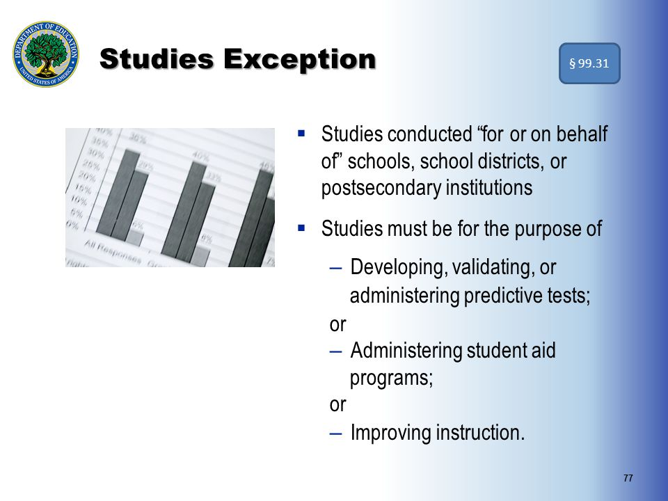 Studies Exception § 99.31. Studies conducted for or on behalf of schools, school districts, or postsecondary institutions.