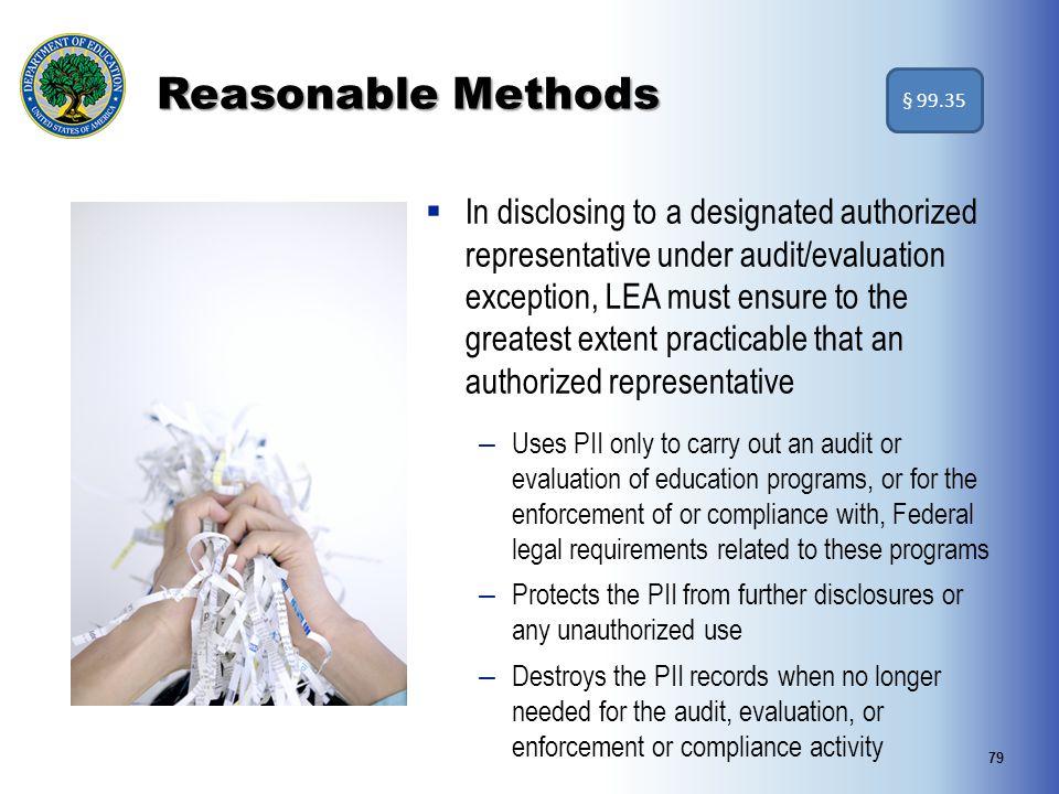 Reasonable Methods § 99.35.