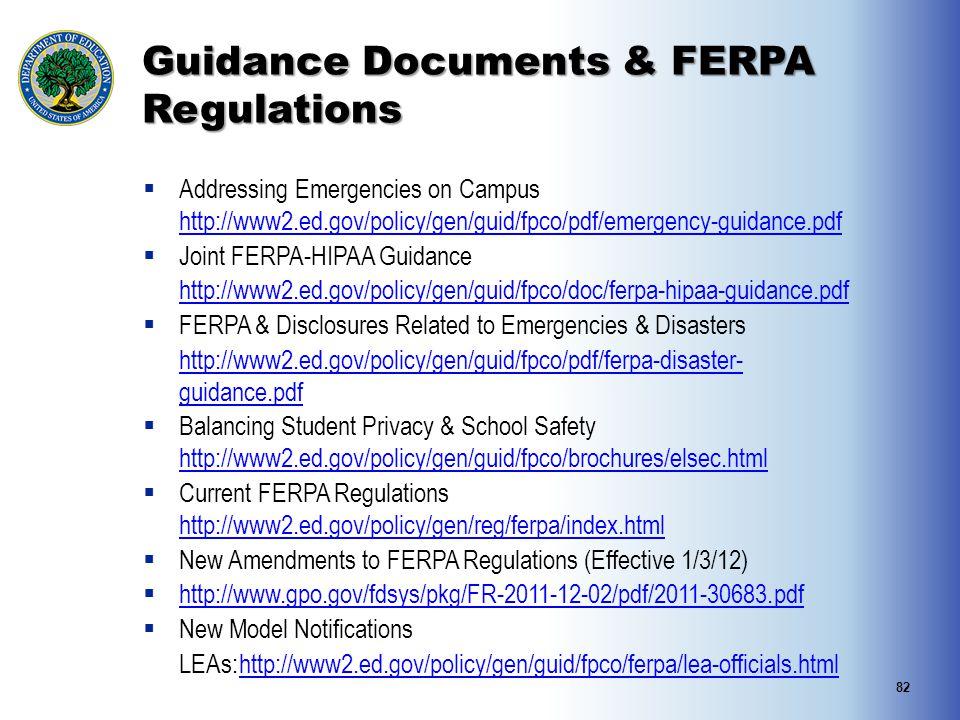 Guidance Documents & FERPA Regulations
