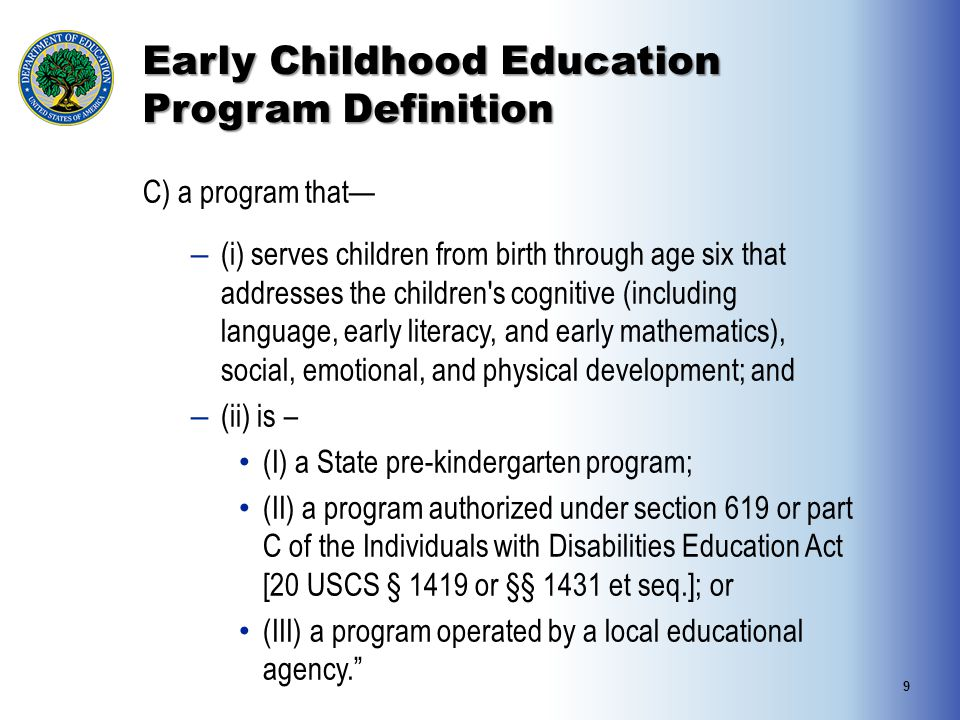 Early Childhood Education Program Definition