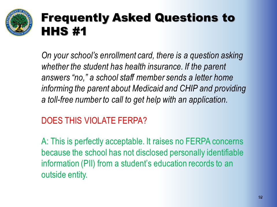 Frequently Asked Questions to HHS #1