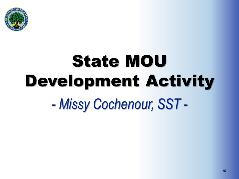 State MOU Development Activity