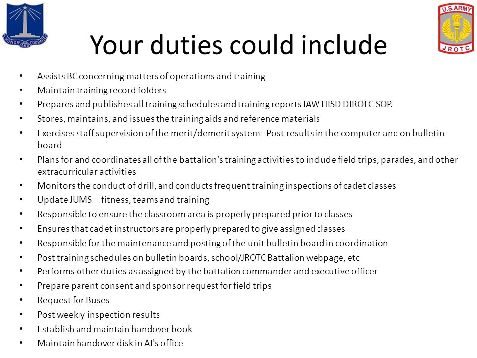 Your duties could include