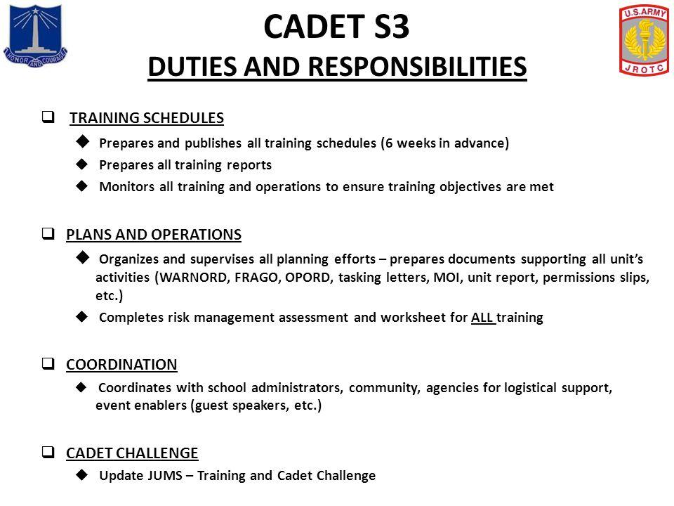CADET S3 DUTIES AND RESPONSIBILITIES
