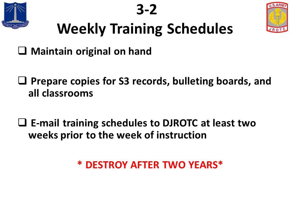 3-2 Weekly Training Schedules