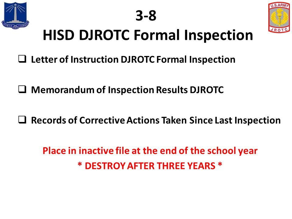 3-8 HISD DJROTC Formal Inspection