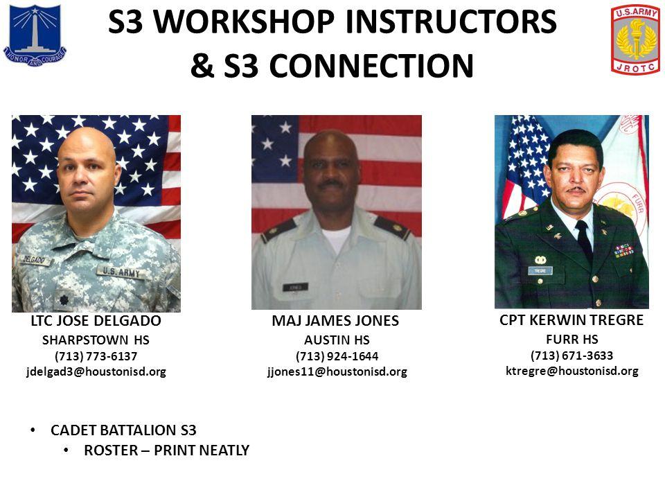 S3 WORKSHOP INSTRUCTORS & S3 CONNECTION