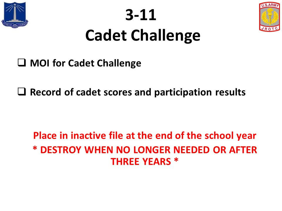 3-11 Cadet Challenge MOI for Cadet Challenge