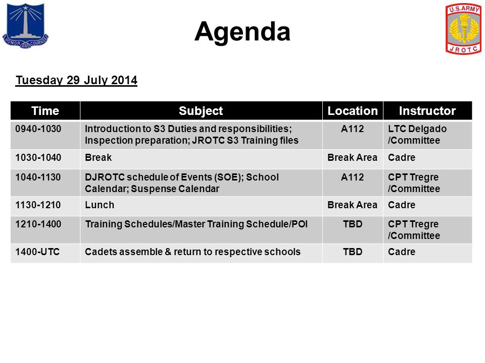 Agenda Tuesday 29 July 2014 Time Subject Location Instructor 0940-1030