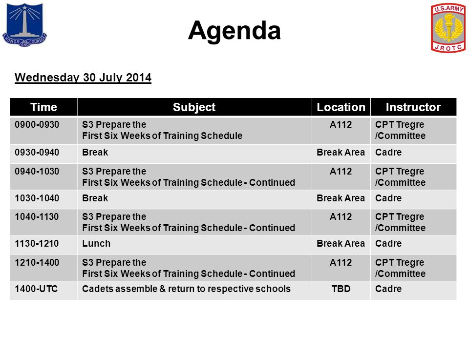 Agenda Wednesday 30 July 2014 Time Subject Location Instructor